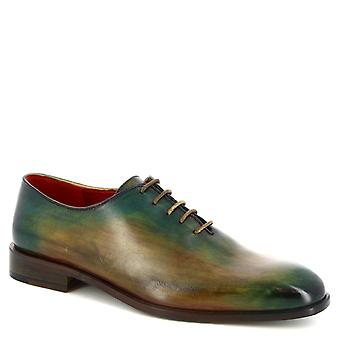 Leonardo Shoes Men's handmade lace-ups derby shoes in green calf leather