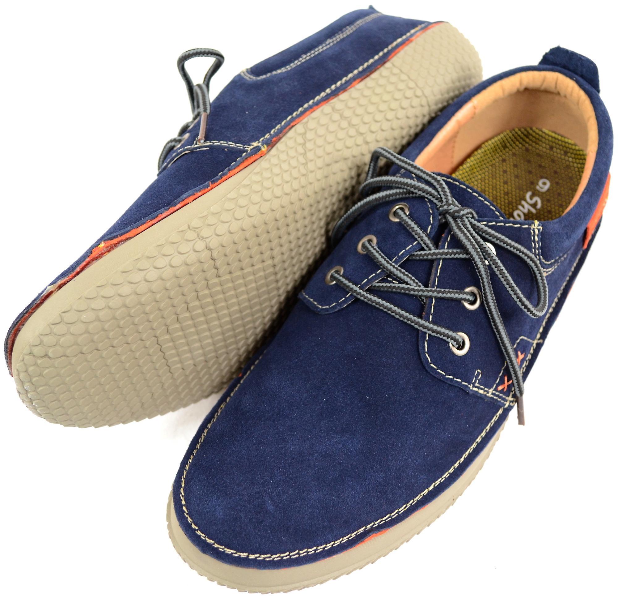 Uomo vera pelle camoscio estate / vacanza in barca / Deck Shoes - Navy - UK 12