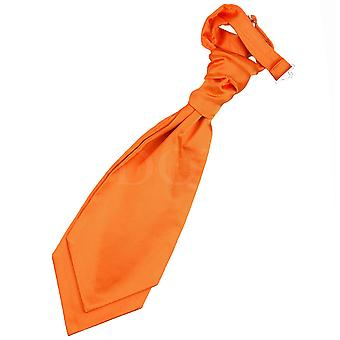 Boy's Plain Burnt Orange Satin Scrunchie Cravat