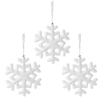 Set of Three 30cm Hanging White Snowflake Decorations