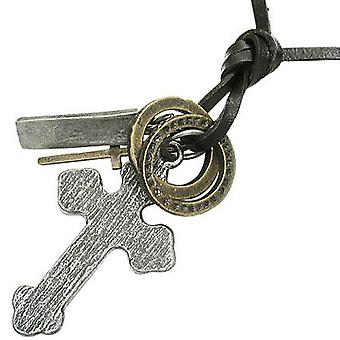 Urban Male Adjustable Dark Brown Leather Necklace With Aged Look Cross Pendant