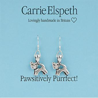 Carrie Elspeth Silver Pawsitively Purrfect kat Sentiment Drop Oorbellen