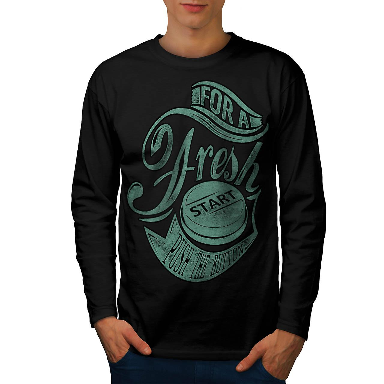 Start Press Button Fresh Push Men Black Long Sleeve T-shirt | Wellcoda