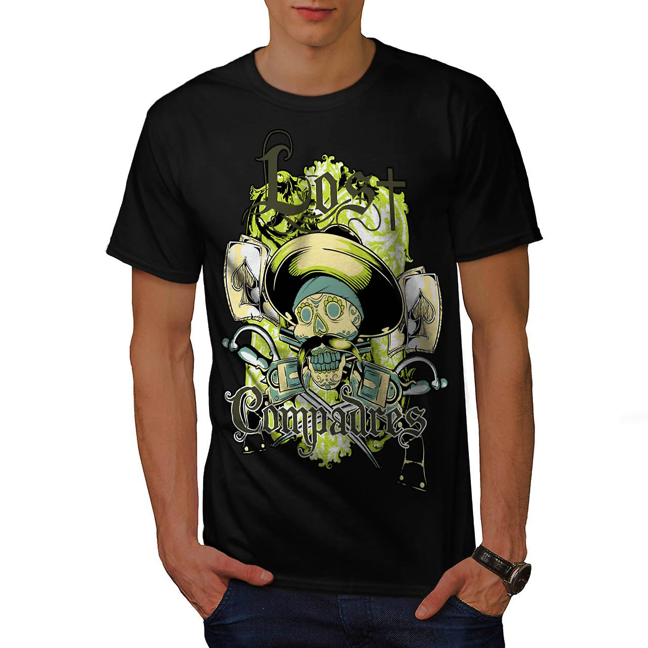 Lost Compadres Cool Skull Men Black T-shirt | Wellcoda