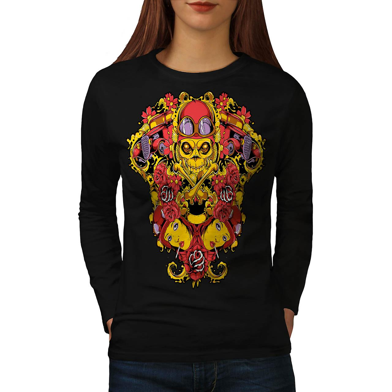 Biker Rider Death Skull Women Black Long Sleeve T-shirt | Wellcoda