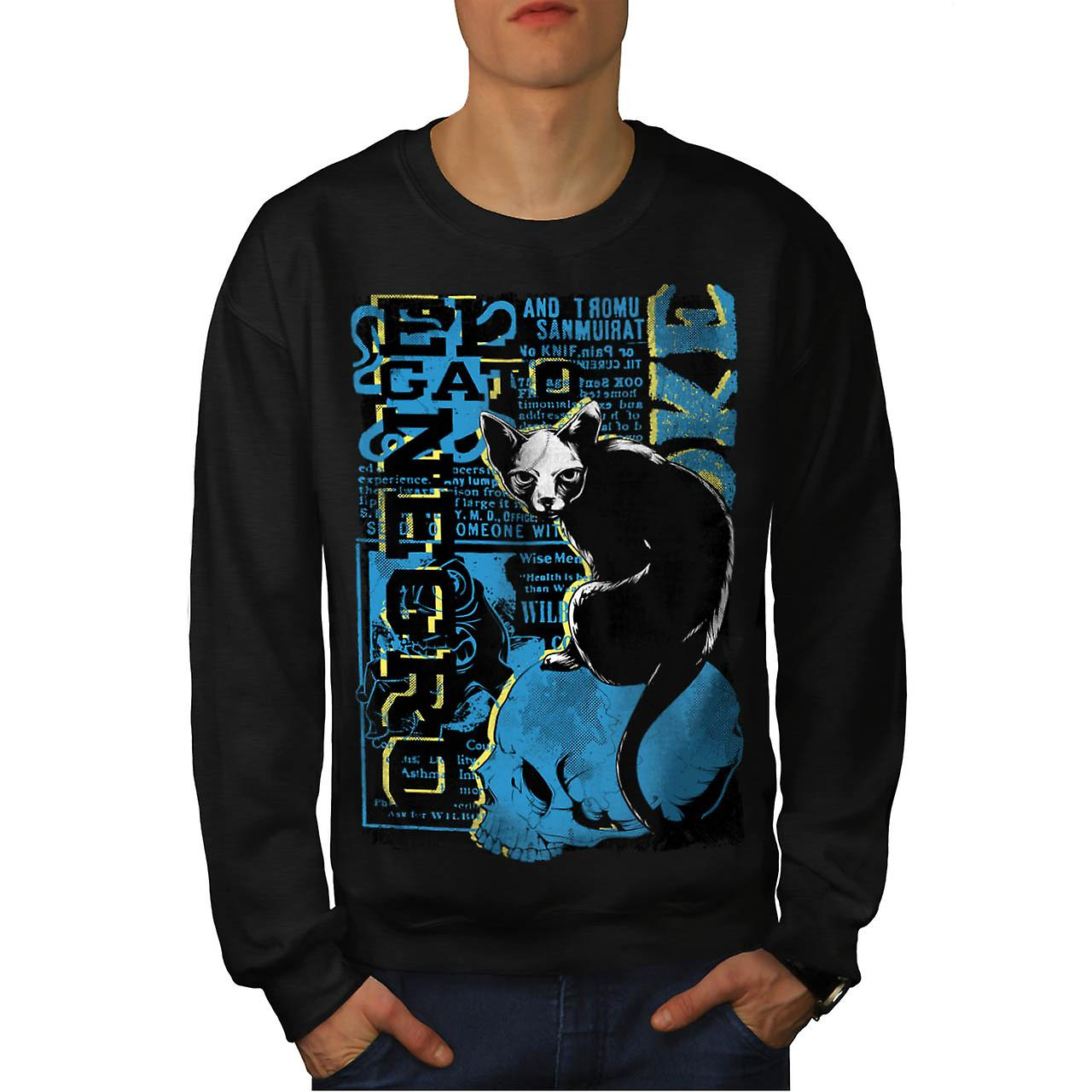 Gato Negro Creepy Cat Witch Pet Men Black Sweatshirt | Wellcoda