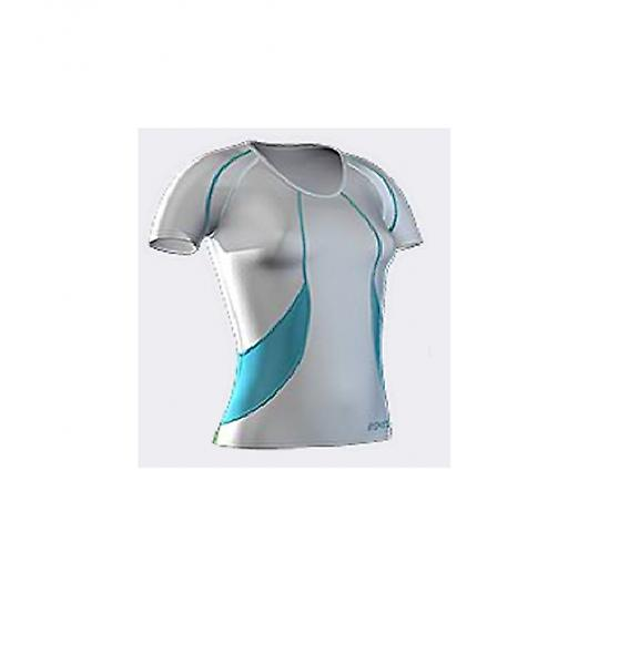 SKINS Women's Bio Compression Short Sleeve Top white / azure / emerald - B18036004