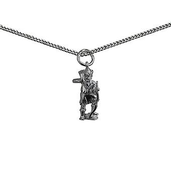 Silver 17x9mm Robin Hood Pendant with a curb Chain 18 inches