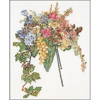 Floral Cascade On Aida Counted Cross Stitch Kit-14.5