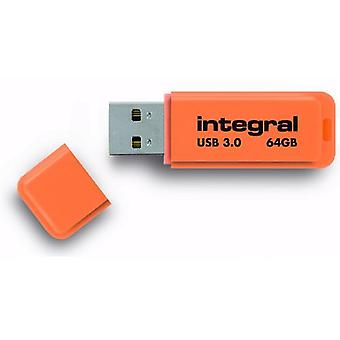 Integreret Neon 64GB USB 3.0 Flash Drive - Orange