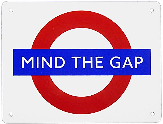 Mind The Gap London Underground Roundel medium size enamel sign 210mm x 160mm   (ba)