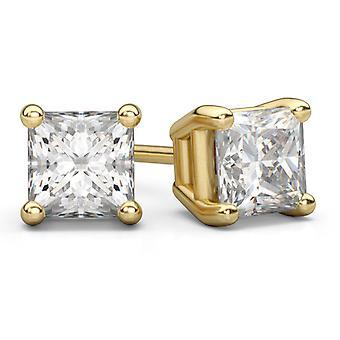 Pendientes del perno prisionero de 0,75 quilates princesa corte diamante en 14K oro amarillo