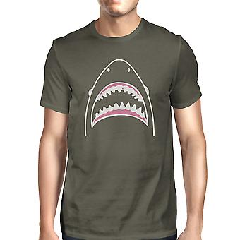 Shark Mens Dark Grey Short Sleeve Tee Shirt Ring Spun Cotton Shirt