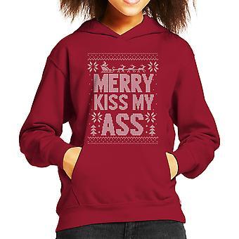 Merry Kiss My Ass Christmas Knit Pattern Kid's Hooded Sweatshirt