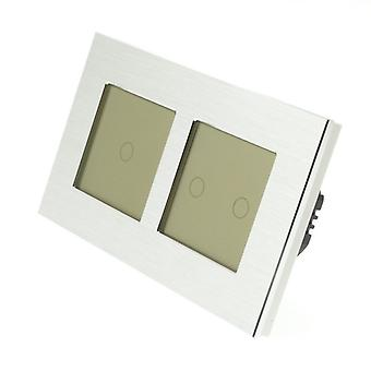 I LumoS Silver Brushed Aluminium Double Frame 3 Gang 1 Way WIFI/4G Remote & Dimmer Touch LED Light Switch Gold Insert