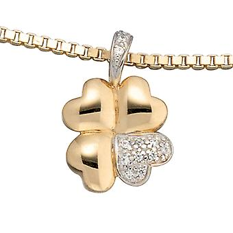 Trailers Shamrock 333 bicolor gold yellow gold 10 cubic zirconia charm