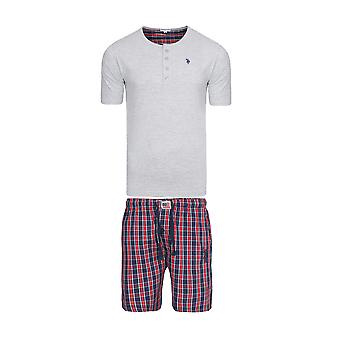 U.S. POLO ASSN. Pajama set underwear men's sleep suit short grey bed linen