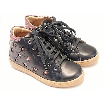 Shoo Pom Ducky Hi Star Navy Leather Casual Boots With Inside Zip
