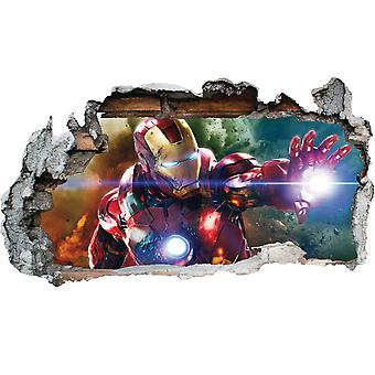 GNG Marvel Iron man Vinyl Smashed Wall Art Decal Stickers Bedroom Boys Girls 3D