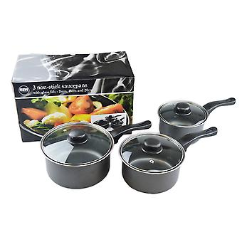 Set of 3 Grey Non-Stick Saucepans with Lids for Cooking 16cm, 18cm & 20cm
