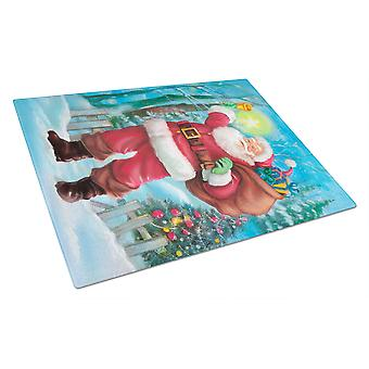 Christmas Santa Rining the Bell Glass Cutting Board Large