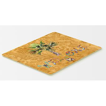 Carolines skarby 8709CMT Zapraszamy Palm Tree na złoto kuchnia lub Dywanik 20 x 30
