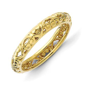 3.5mm Sterling Silver Stackable Expressions Gold-Flashed Carved Ring - Ring Size: 5 to 10