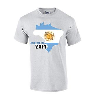 Argentina 2014 Country Flag T-shirt (grey)