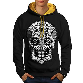 Eye Skull Head Men Black (Gold Hood)Contrast Hoodie | Wellcoda