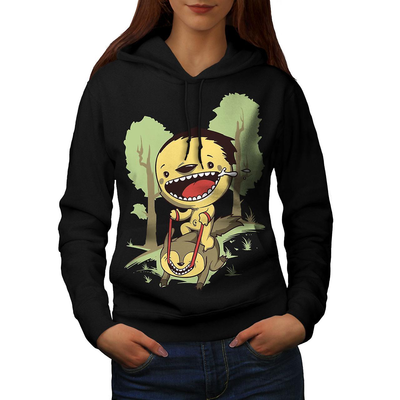 Cartoon Cute Forest Funny Women Black Hoodie | Wellcoda