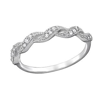 Braided - 925 Sterling Silver Cubic Zirconia Rings - W29249X