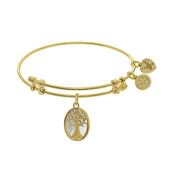 Tree Of Life Charm With Synthetic Mother Of Pearl Expandable Bangle Bracelet