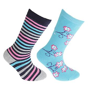 FLOSO Childrens/Kids Cotton Rich Welly Socks (2 Pairs)