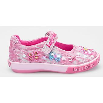 Lelli Kelly LK5066 Shining Bow Pink Glitter Canvas Shoes With Free Gift
