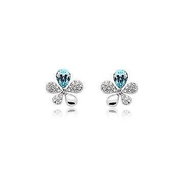 Sky Blue Crystal Stones Flower Butterflies Earrings Womens