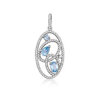 Hanger in zilver 925 en 111 kristallen Swarovski Zirconia wit en blauw