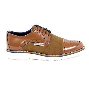 Andrew Charles Mens Brogue Oxford Shoe 911 Abrasivato Camoscio Cognac