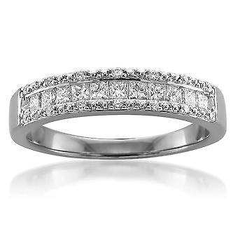 1/2ct Princess Cut Diamond Wedding Ring 14K White Gold