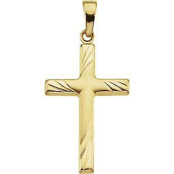 14k Yellow Gold Cross Pendant 24x16 - .9 Grams
