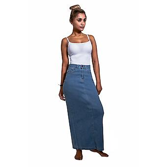 USKEES JESSICA Long Denim Skirt - Pale wash Close-fitting Maxi Jean Skirt UK 8-2