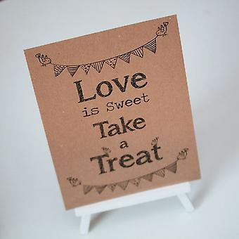 Candy Sweet Bar Sign Kraft Brown 'Love Is Sweet' Sign And Easel - Wedding