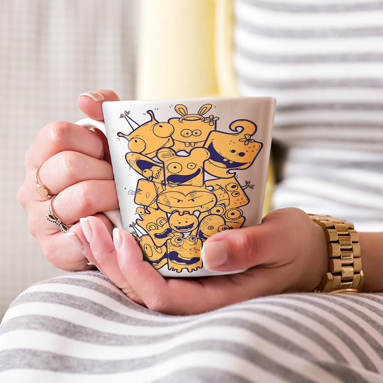 Cartoon Face Happy NEW White Tea Coffee Ceramic Latte Mug 12 oz | Wellcoda