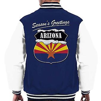 Seasons Greetings Arizona State Flag Christmas Men's Varsity Jacket