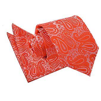 Spalony pomarańczowy Paisley Tie & placu kieszeni zestaw
