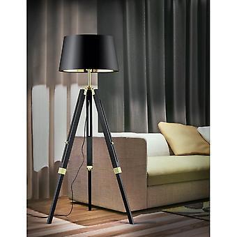 Trio Lighting Gent Designer Modern Black And Gold Natural Wood Tripod Floor Lamp