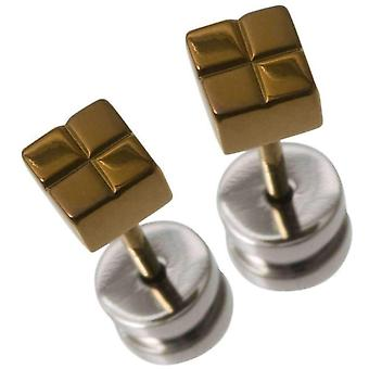 Ti2 Titanium Small Square Checked Stud Earrings - Brown