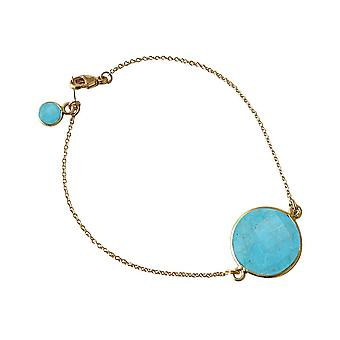 Gemshine - ladies - bracelet - gold plated - turquoise - blue - faceted - 19 cm