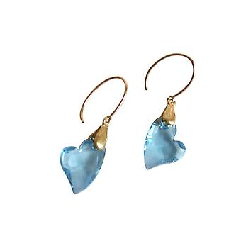 Gemshine - women - heart - earrings - gold plated - devoted 2 U - * aquamarine * - blue - MADE WITH SWAROVSKI ELEMENTS® - 2 cm