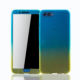 Huawei honor view 10 cell phone case protective case cover tank protection glass blue / yellow