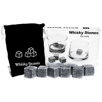 9 PCS Whisky Chilling Rocks Ice Stones Drankjes Cooler Cubes Scotch Whisky op de Rotsen graniet met een mousseline Pouch